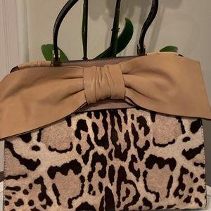 Valentino Animal Print Bow Bag